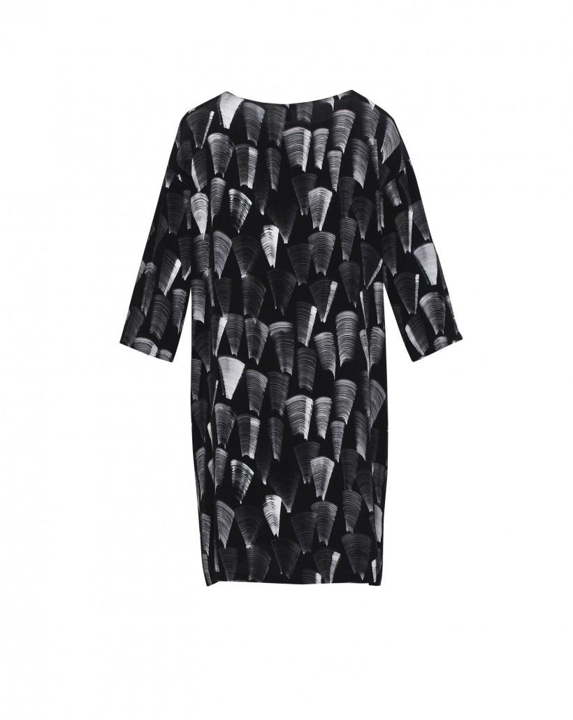 Luźna tunika w czarno-biały wzór