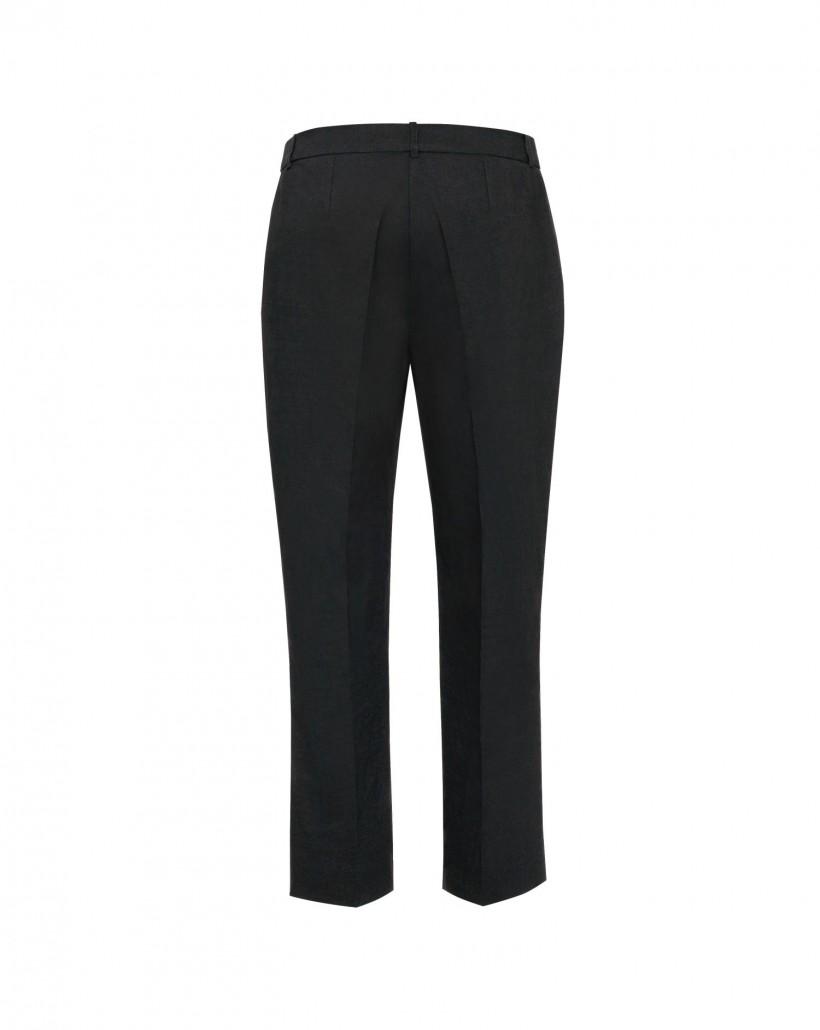 Lniane spodnie z lekko rozszerzanymi nogawkami