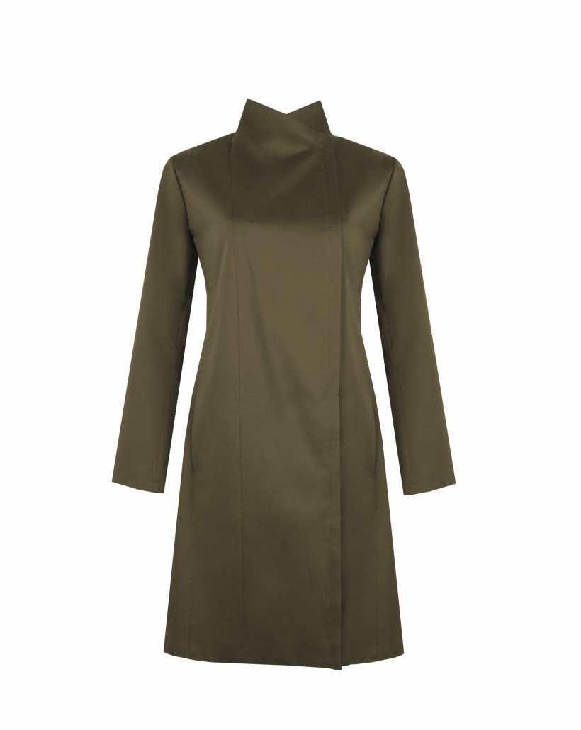 Bawełniany płaszcz ze stójką