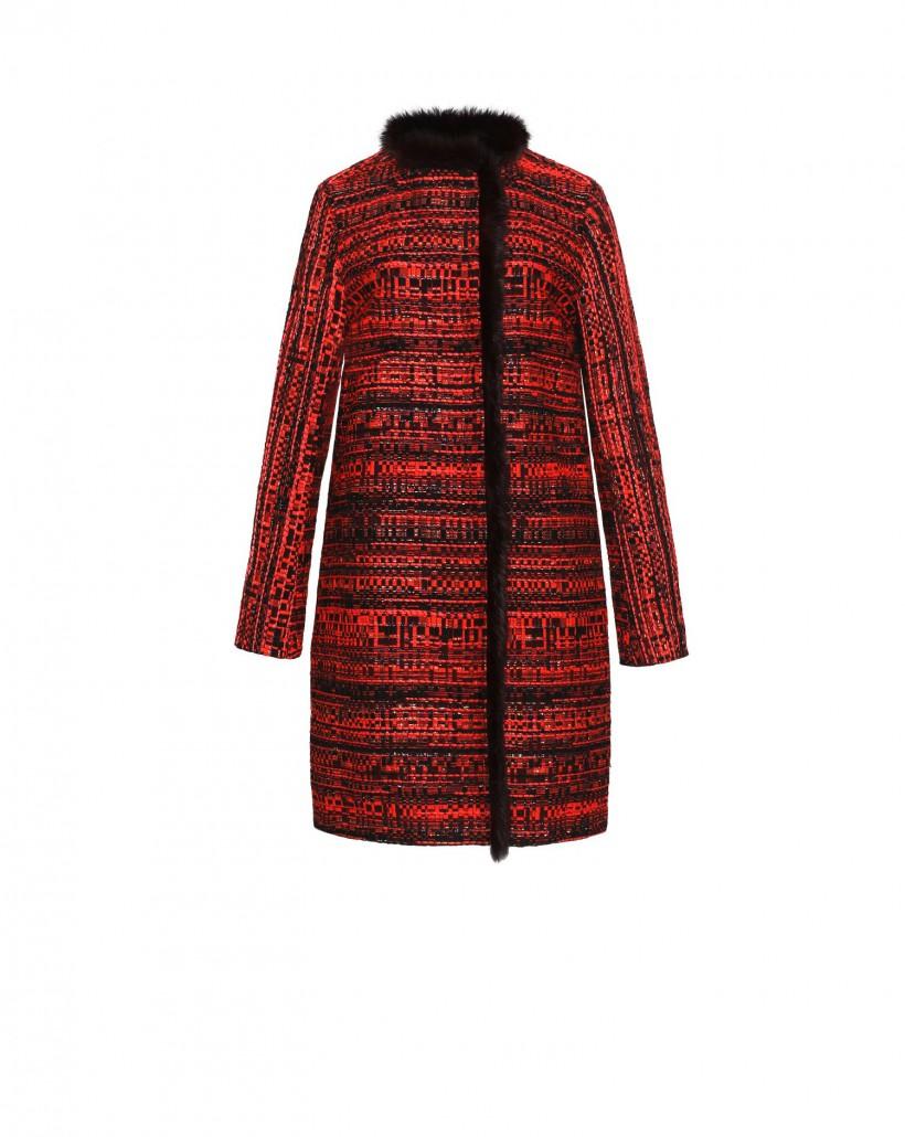 Żakardowy płaszcz z metaliczną nitką