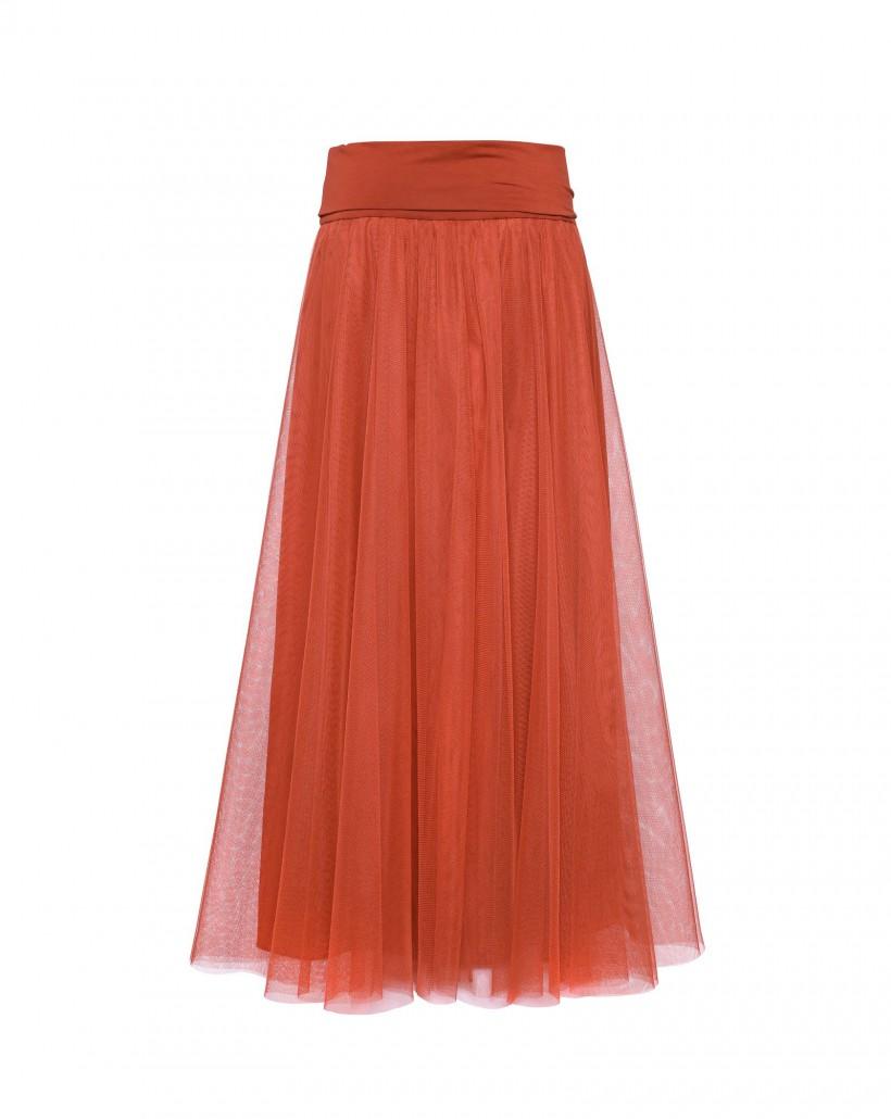 Spódnica z tiulu w kolorze rudym
