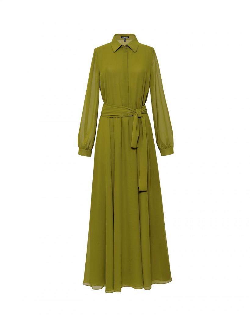 Długa limonkowa suknia