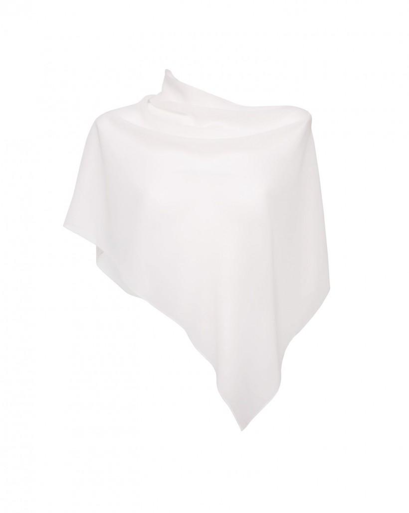 Szyfonowe ponczo w kolorze białym