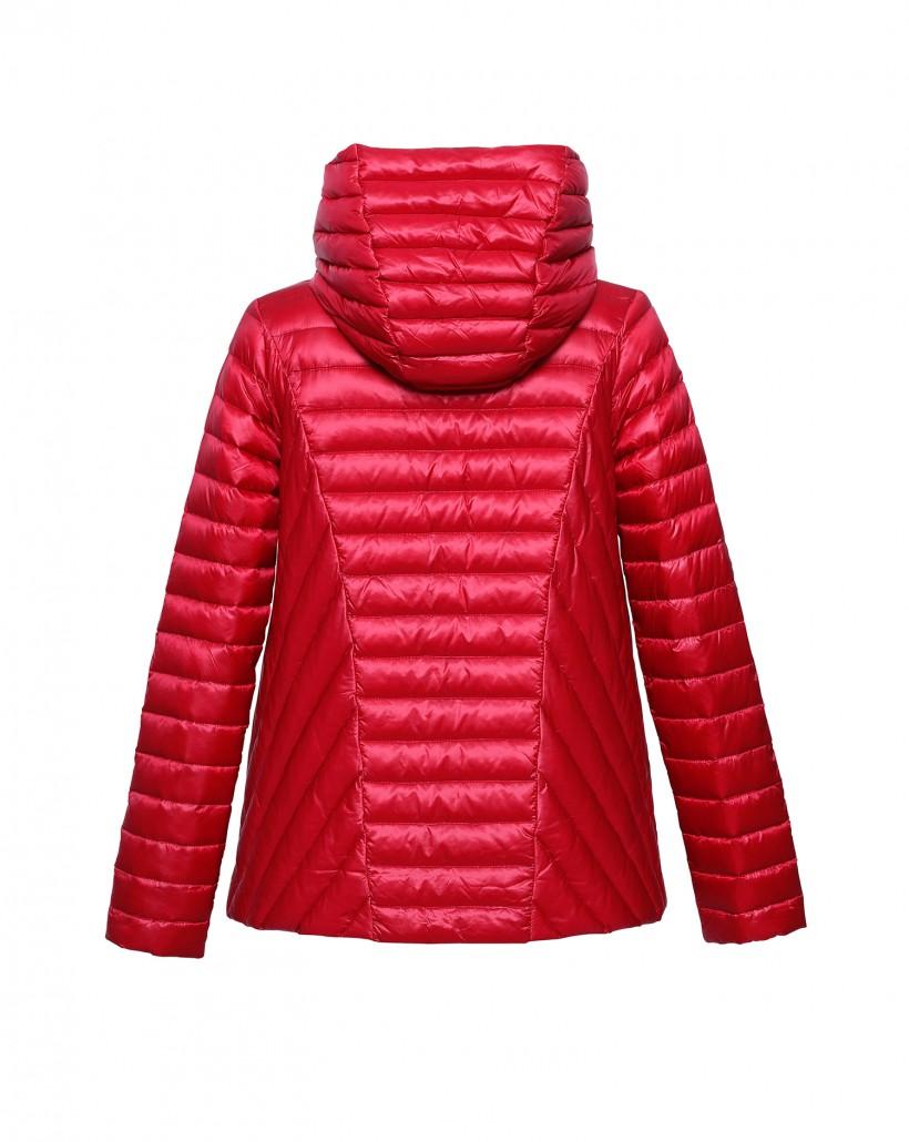 Czerwona pikowana kurtka z kapturem