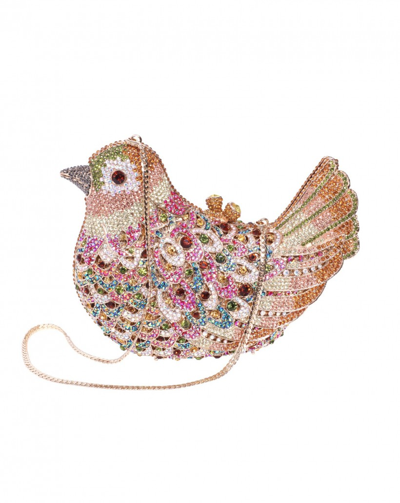 Biżuteryjna torebka ptak z kamieniami