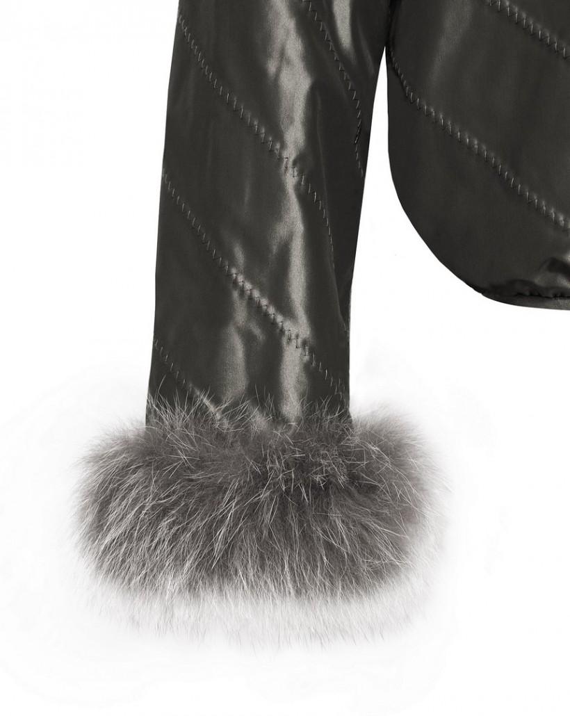 Dwustronna kurtka z futrem w odcieniu khaki