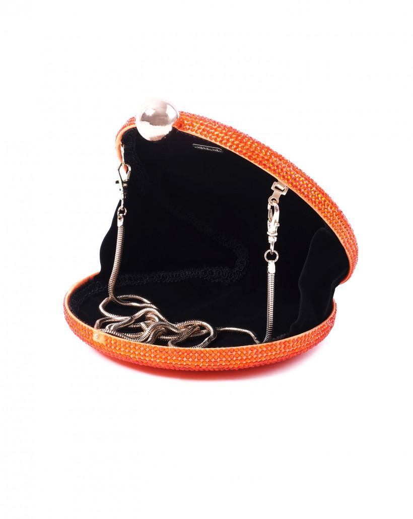 Biżuteryjna oranżowa torebka