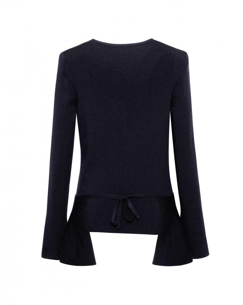 Granatowy kopertowy sweter