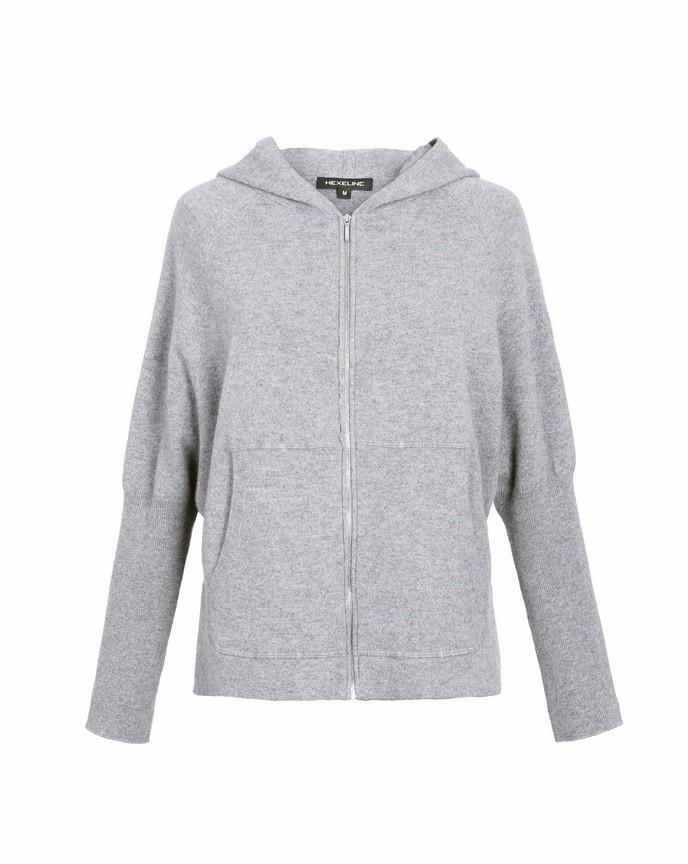 Kaszmirowy rozpinany sweter z kapturem