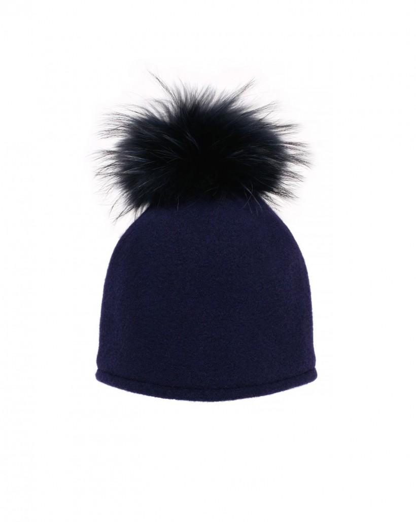 Wełniana czapka z futrem