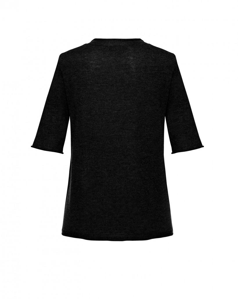 Czarna bluzka z wełny merynosa
