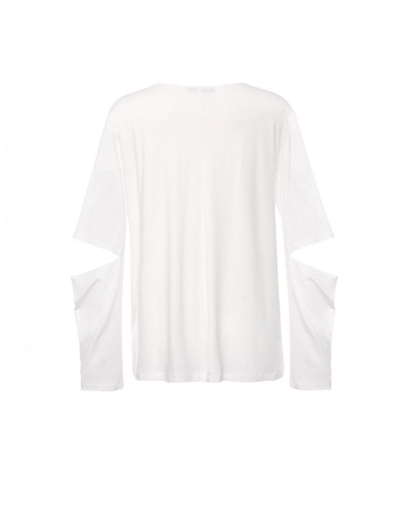 Bluzka z oryginalnym pęknięciem na rękawie