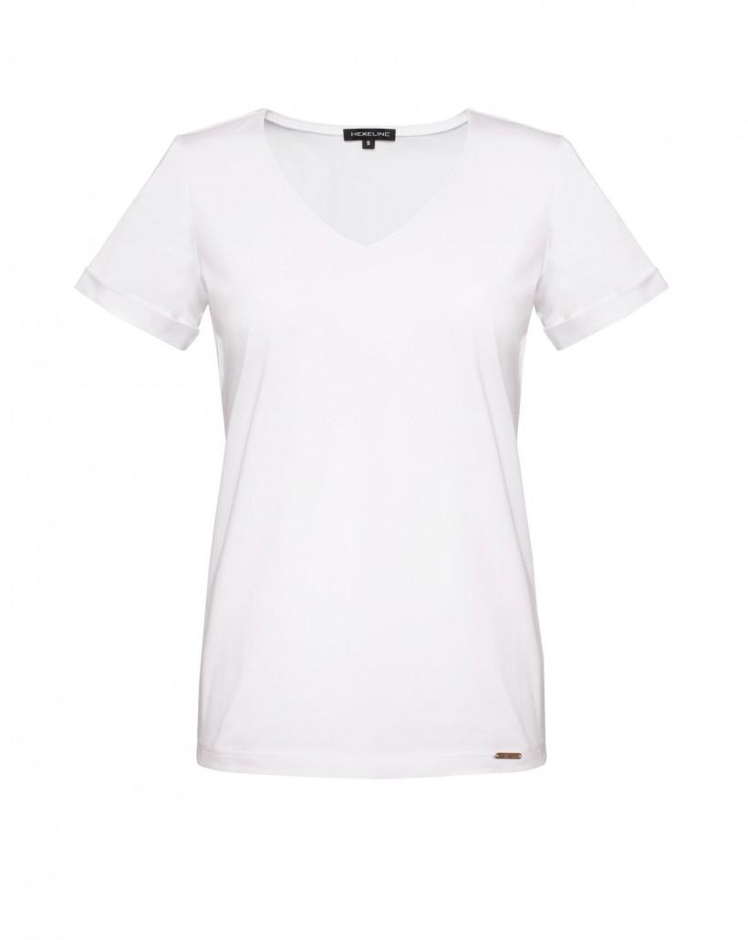 Biały t-shirt z krótkim rękawem
