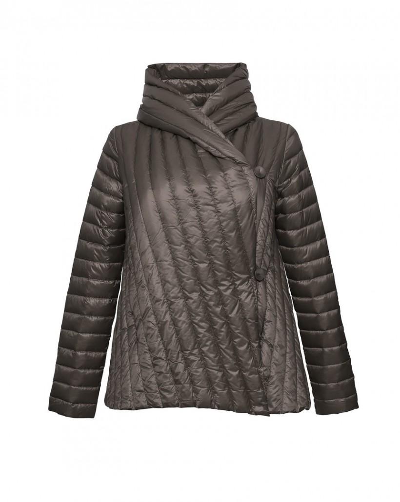 Krótka pikowana kurtka w kolorze brązowym