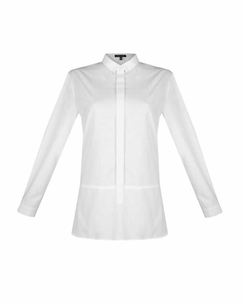 Biała koszula z plisą polo