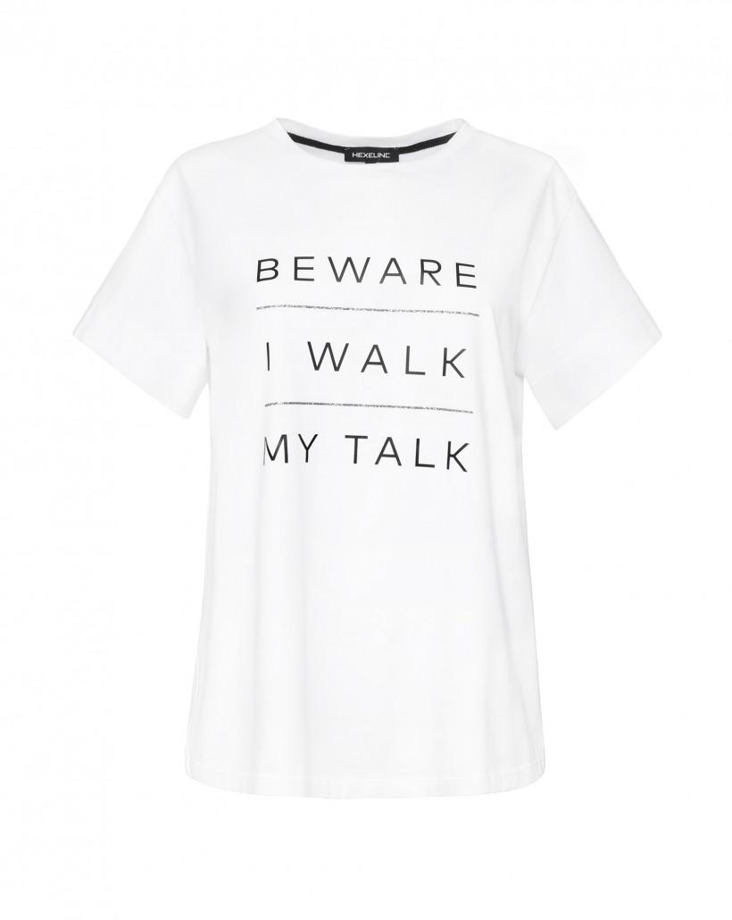 Biały T-shirt o luźnym fasonie