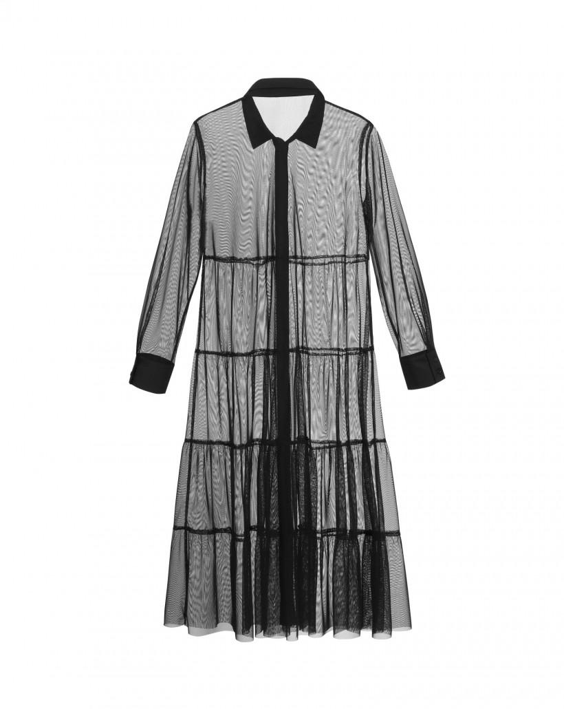 Transparentna sukienka z falban