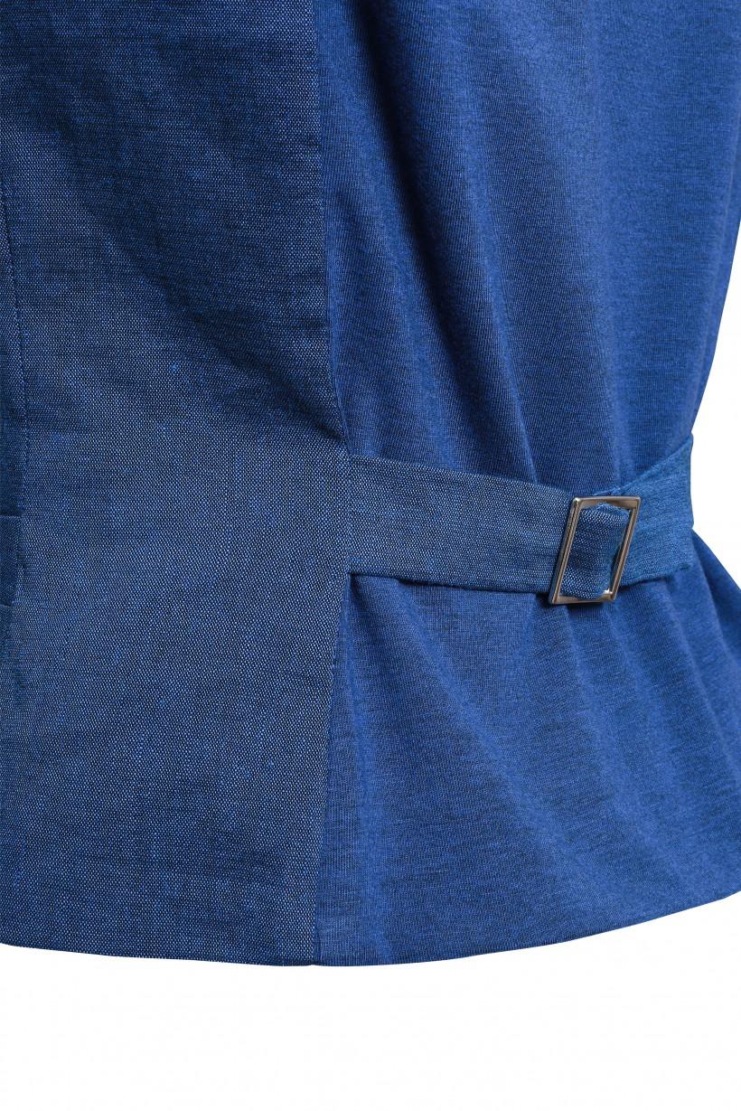 Kamizelka z niebieskiej tkaniny lnianej