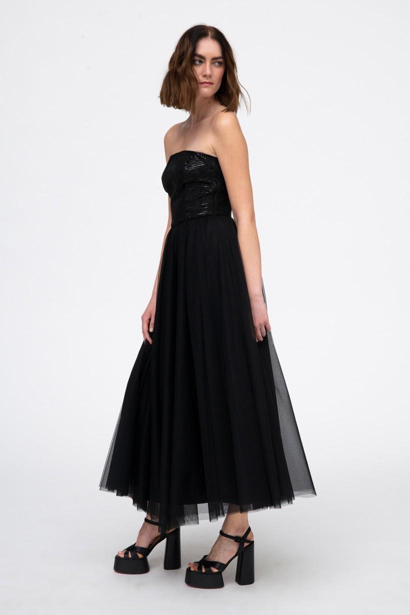 Rozkloszowana suknia z cekinowym gorsetem w kolorze czarnym