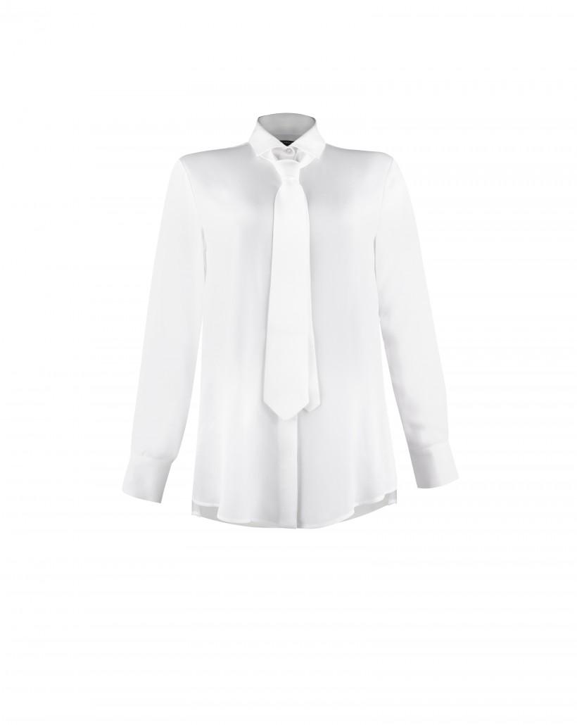 Biała koszula z krawatem