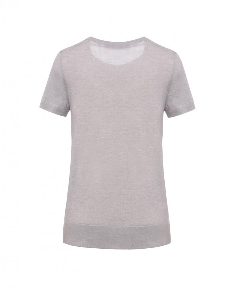 Wełniana bluzka z krótkim rękawem w szarym kolorze