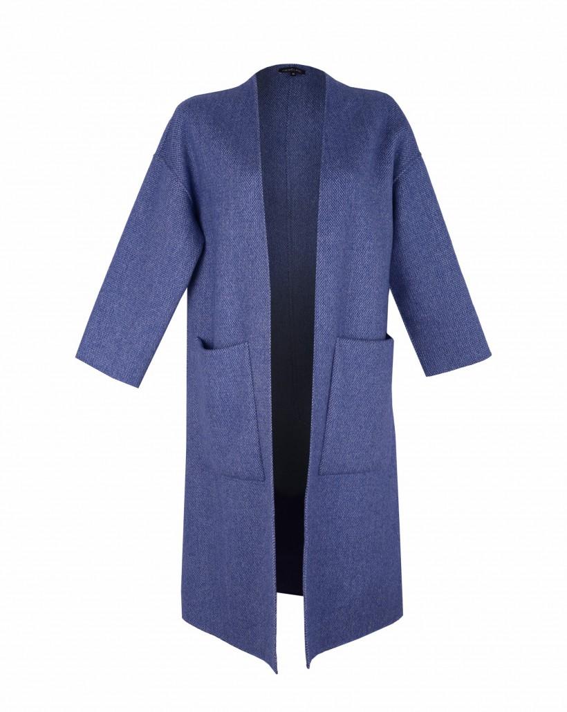 Oversizowy płaszcz o melanżowym splocie