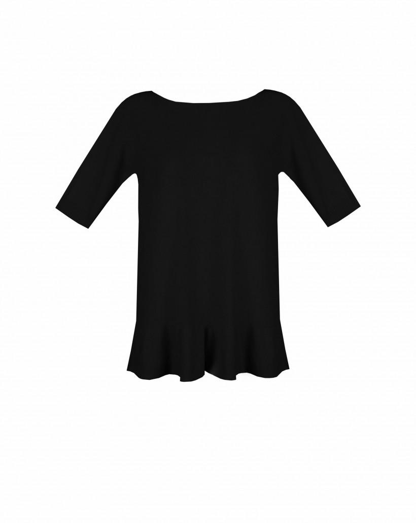 Czarny sweter z falbaną u dołu