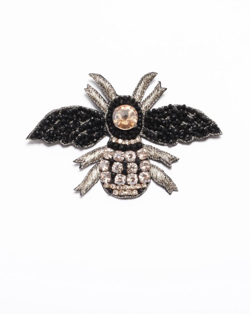 Broszka w kształcie owada czarno-złota