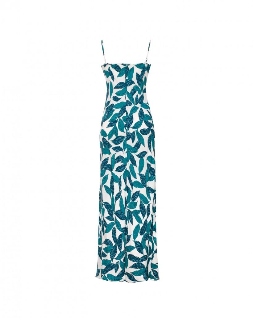Długa sukienka na cienkich ramiączkach