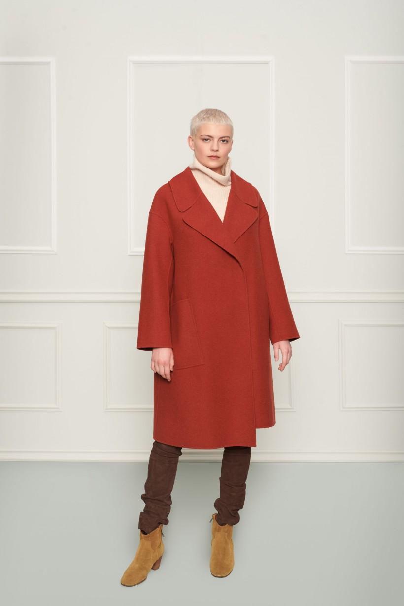 Rudy dwurzędowy płaszcz asymetryczny z szerokim kołnierzem