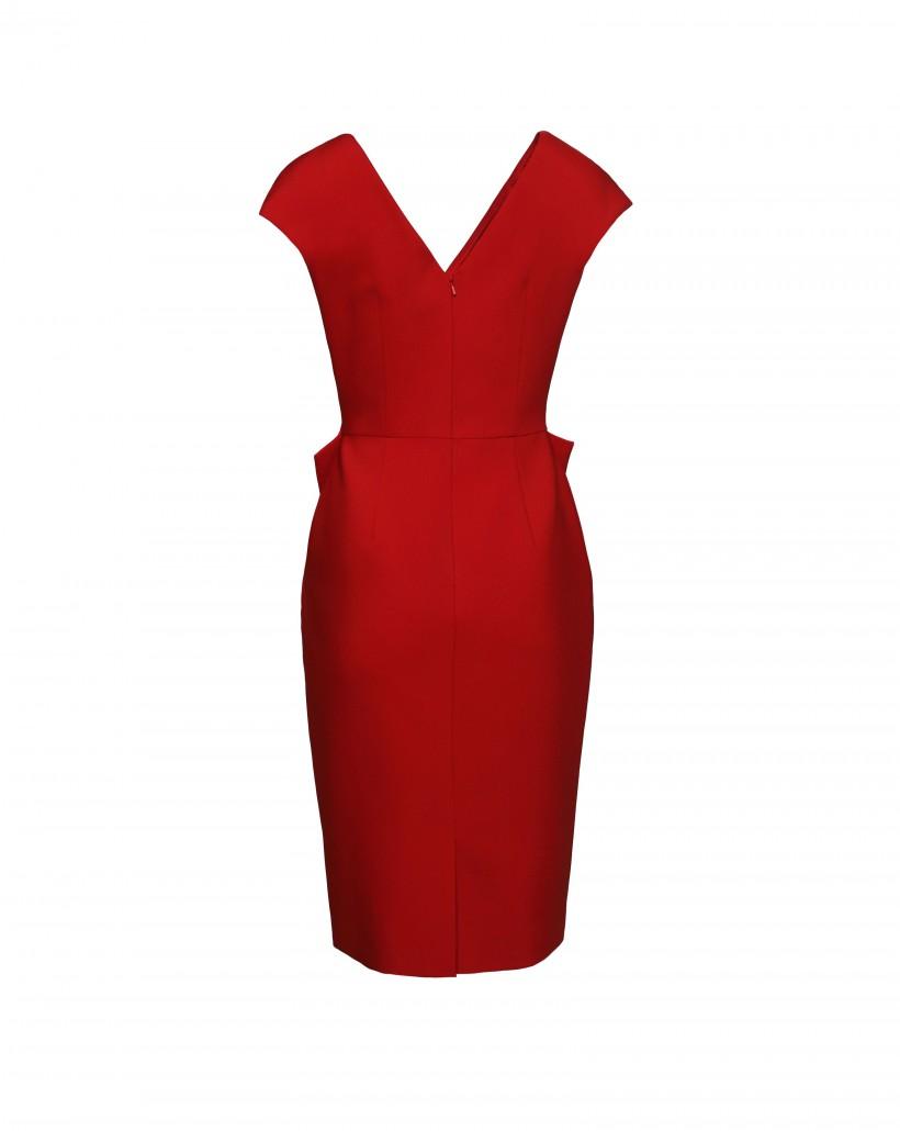 Czerwona sukienka z fantazyjnym wiązaniem