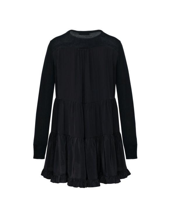 Czarny sweter z falbanami