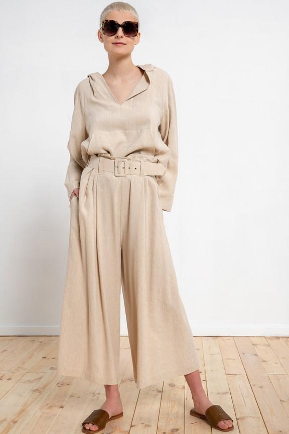 Szerokie spodnie z lnem w kolorze beżowym wysoki stan