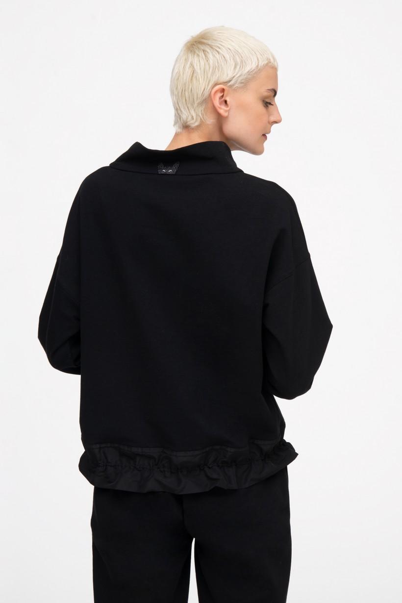 Bluza z marszczonym dołem i nadrukami w kolorze czarnym