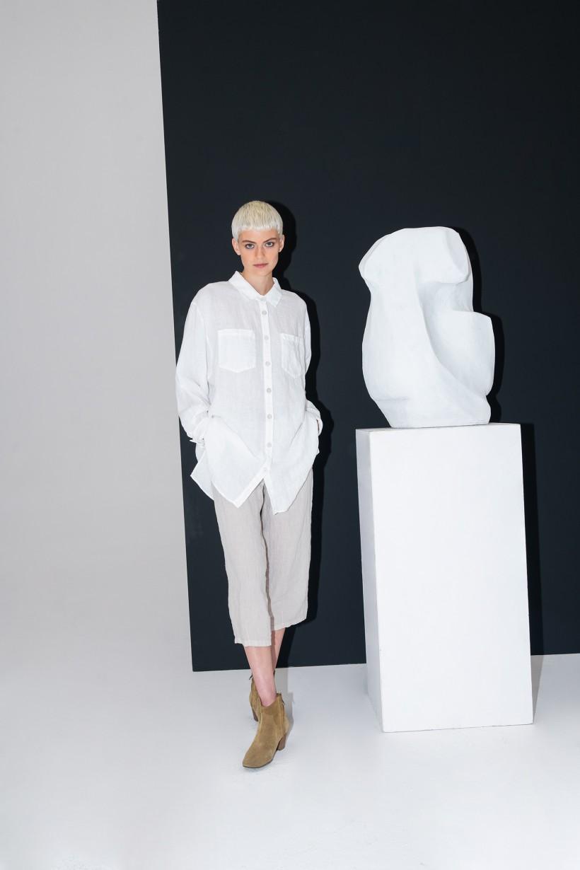 Biała koszula oversize z czystego lnu