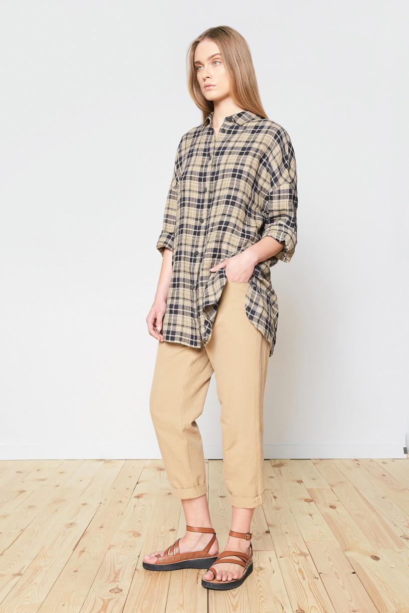Koszula w kratę z lnu