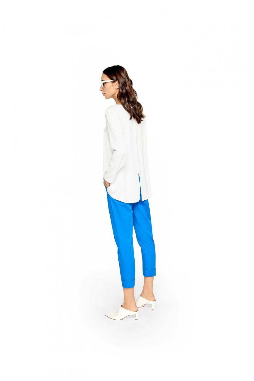 Bawełniane spodnie lekko dopasowane turkusowy kolor