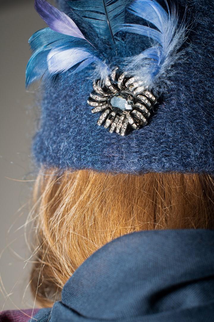Niebieska czapka z moheru