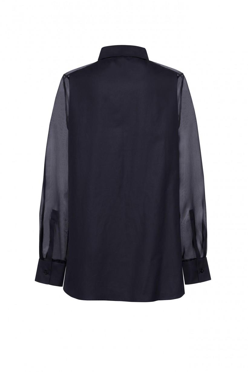 Czarna koszula w eleganckim stylu z jedwabnymi elementami