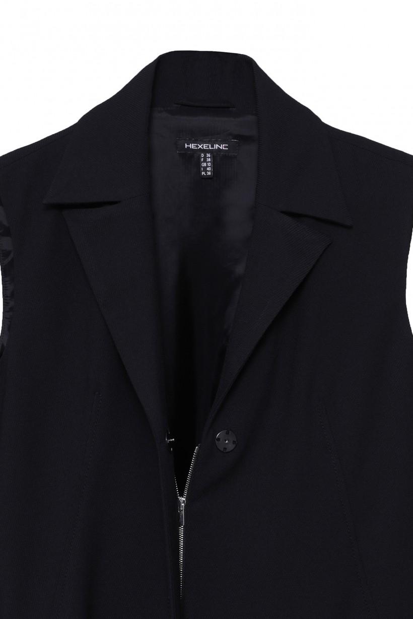 Czarna sukienka z kołnierzykiem bez rękawów