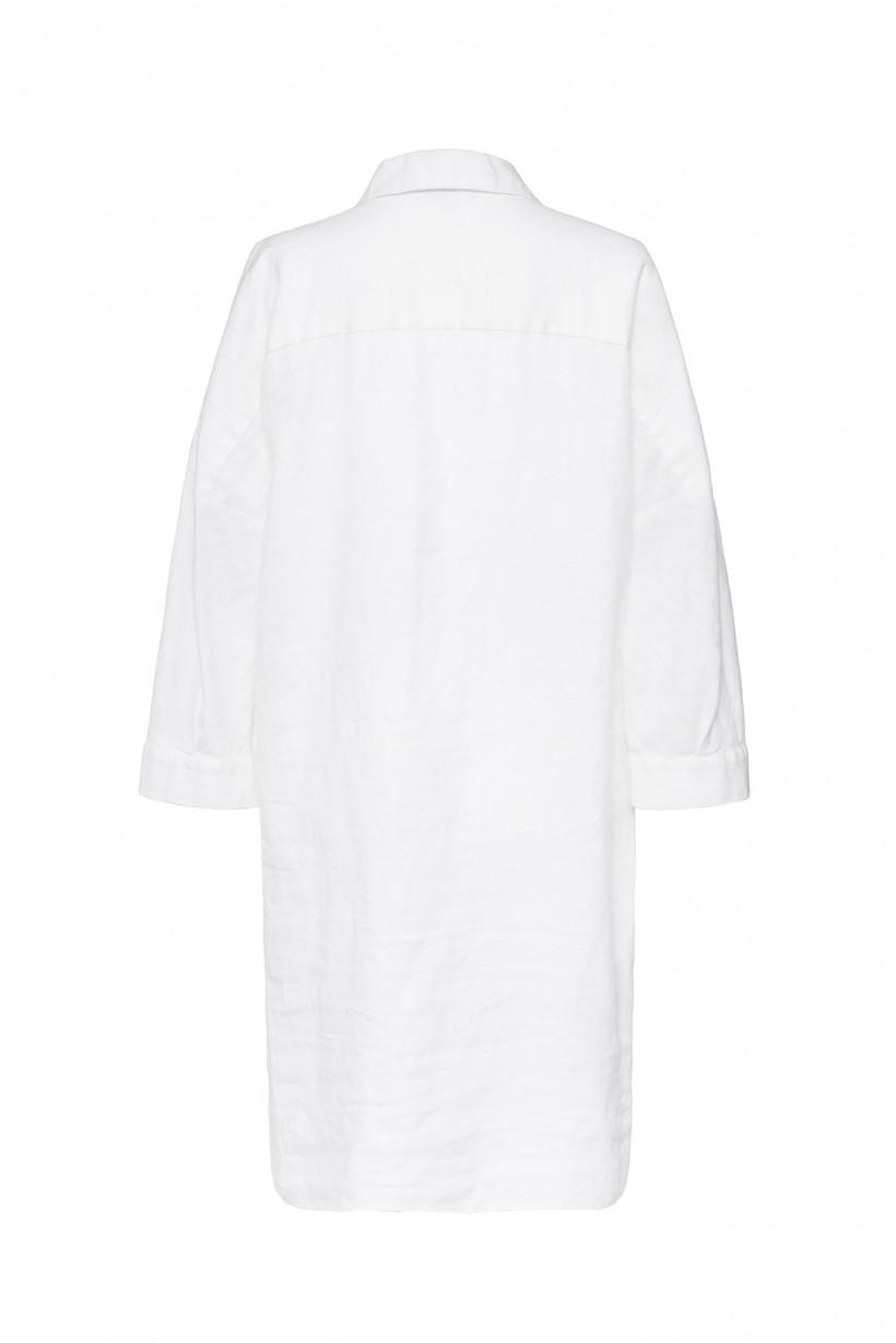 Biała sukienka z kołnierzykiem 100% len