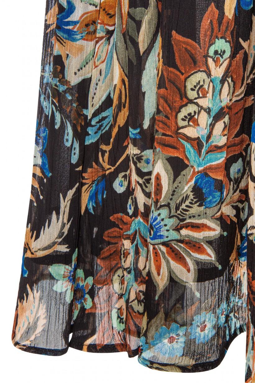 Rozkloszowana sukienka z kreszowanej tkaniny w kwiaty