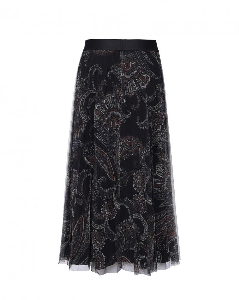 Plisowana spódnica maxi z tiulu z drukowanym wzorem