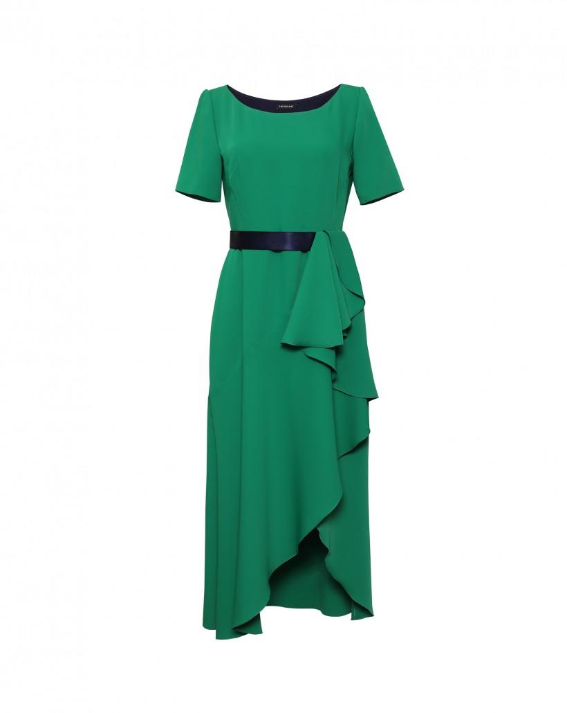 Zielona sukienka z falbanami