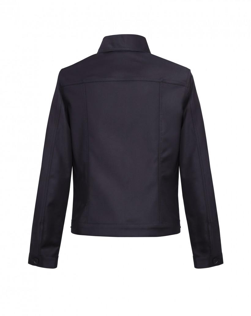 Krótka czarna kurtka z kieszeniami zapinana na guziki