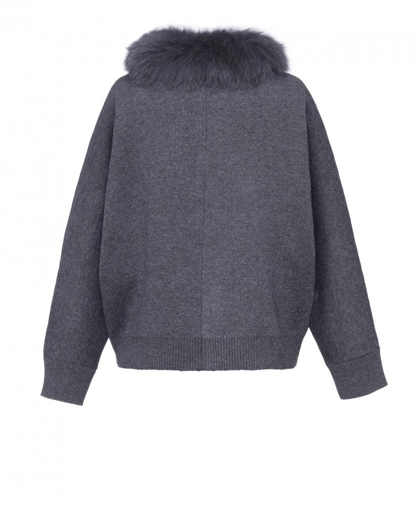 Dzianinowa kurtka w kolorze ciemnoszarym z futrem