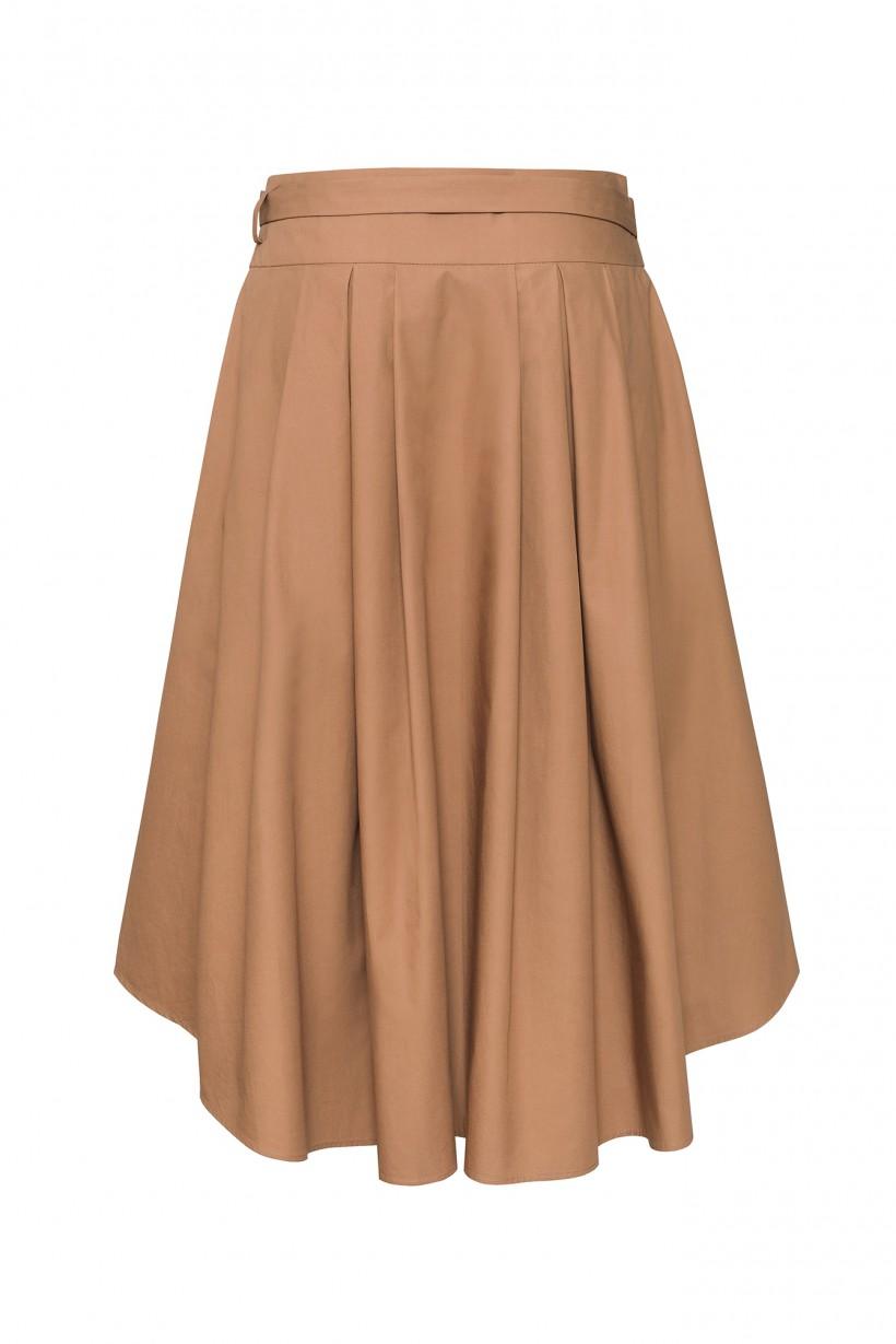 Rozkloszowana spódnica z paskiem w jasnobrązowym kolorze