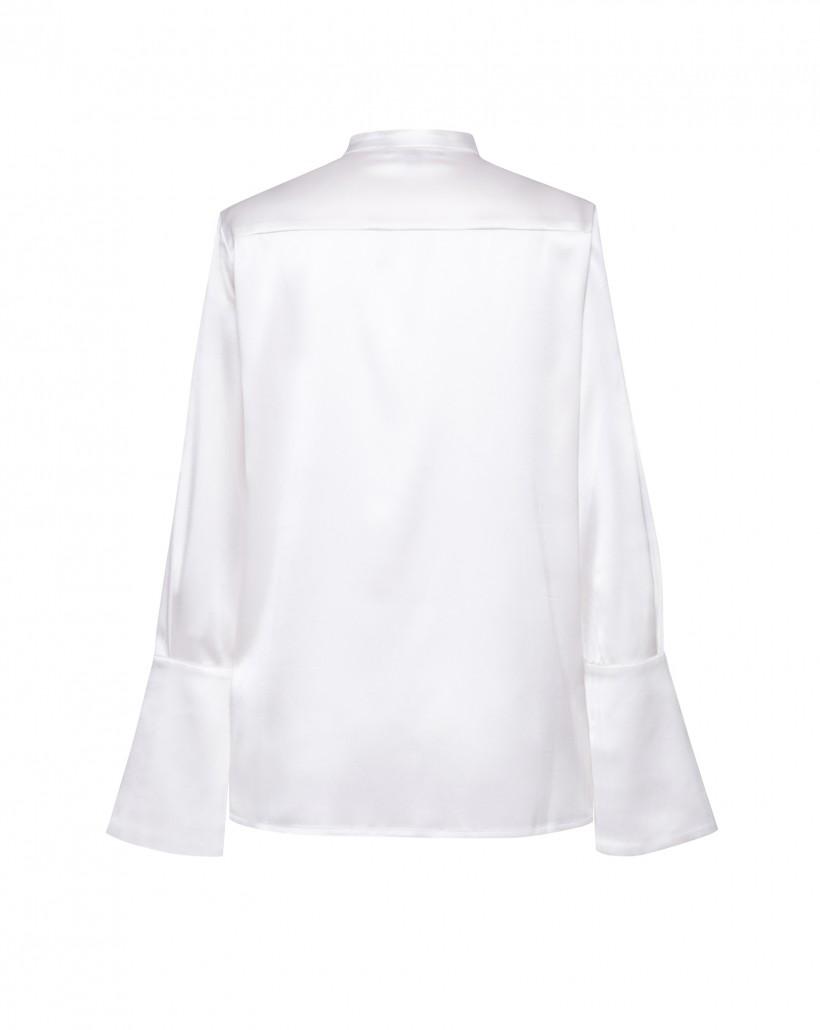 Jedwabna koszula ze stójką w kolorze ecru