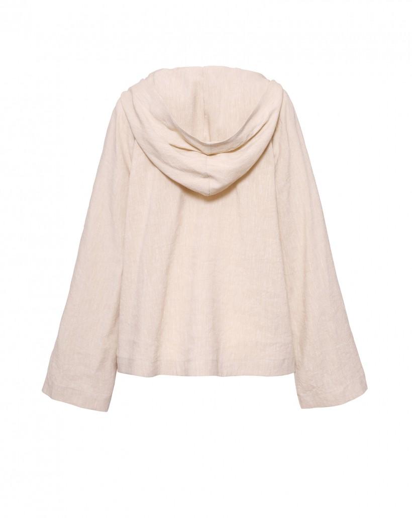 Beżowa lniana bluza z kapturem