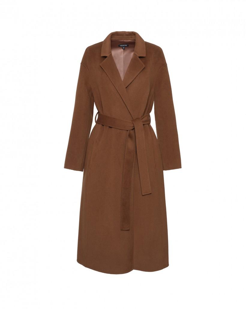 Wiązany ręcznie szyty płaszcz z wełny
